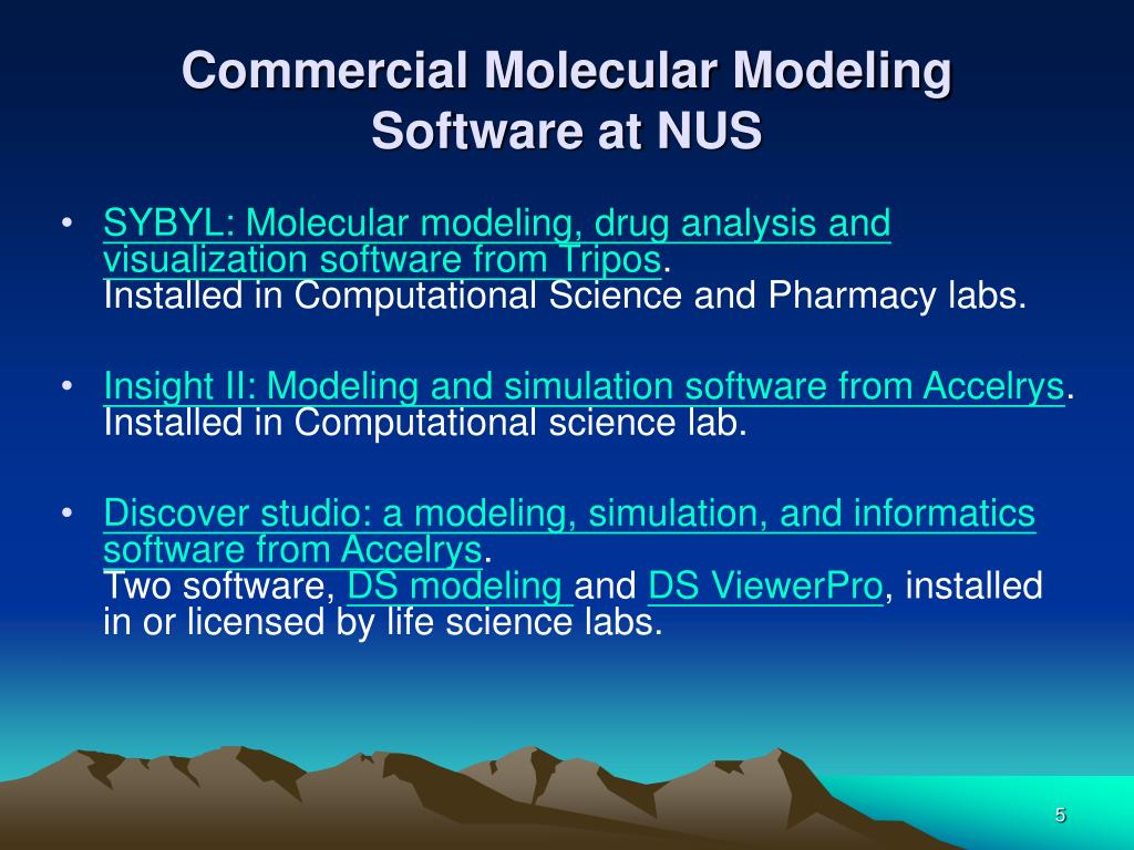 Commercial Molecular Modeling Software at NUS