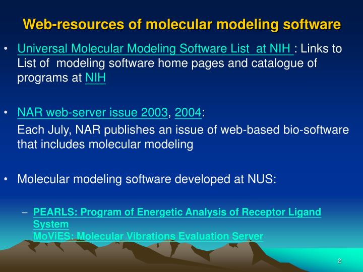 Web resources of molecular modeling software