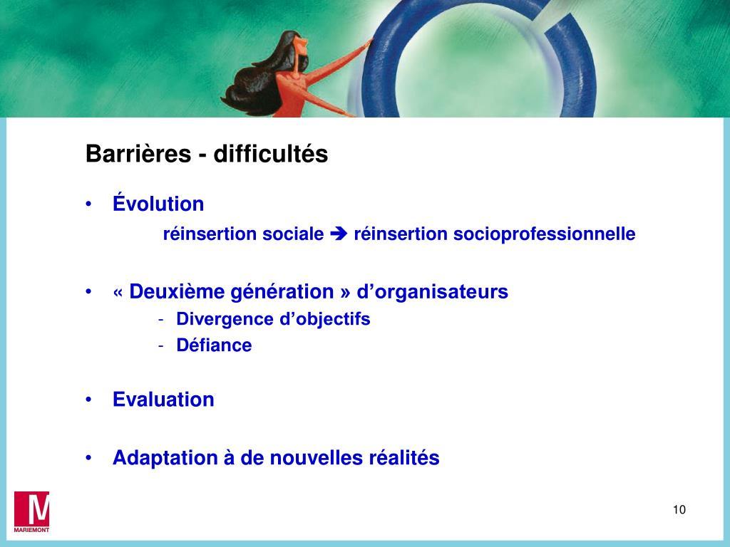 Barrières - difficultés