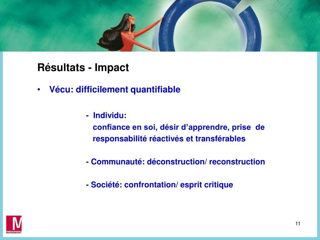 Résultats - Impact
