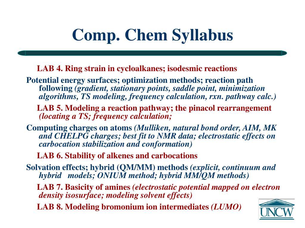 Comp. Chem Syllabus