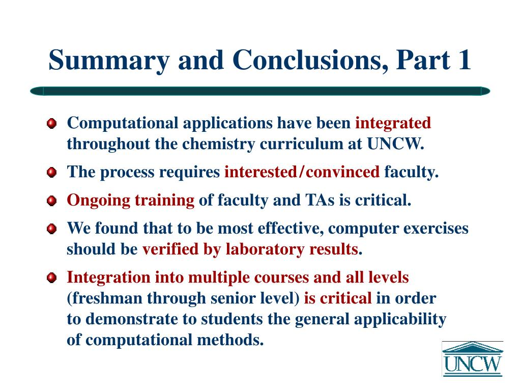 Summary and Conclusions, Part 1