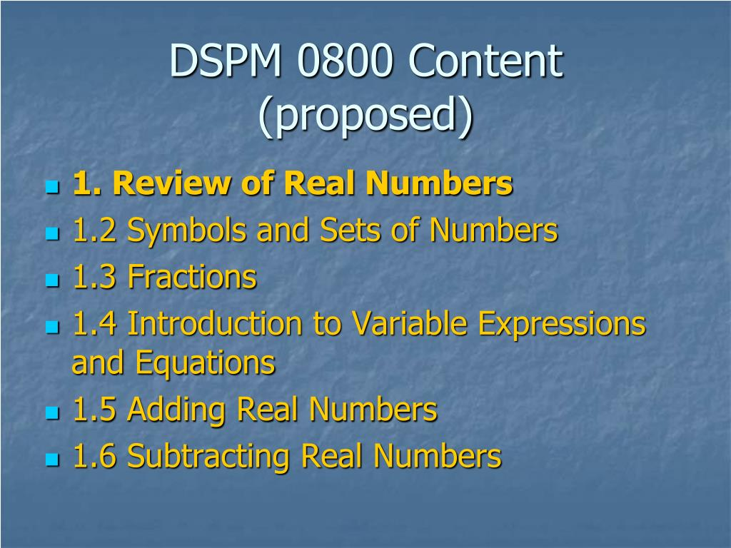 DSPM 0800 Content