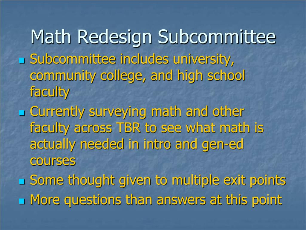 Math Redesign Subcommittee