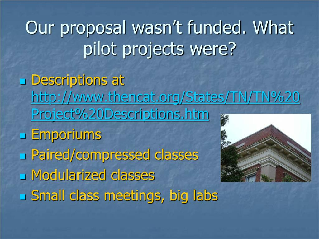 Our proposal wasn't funded. What pilot projects were?