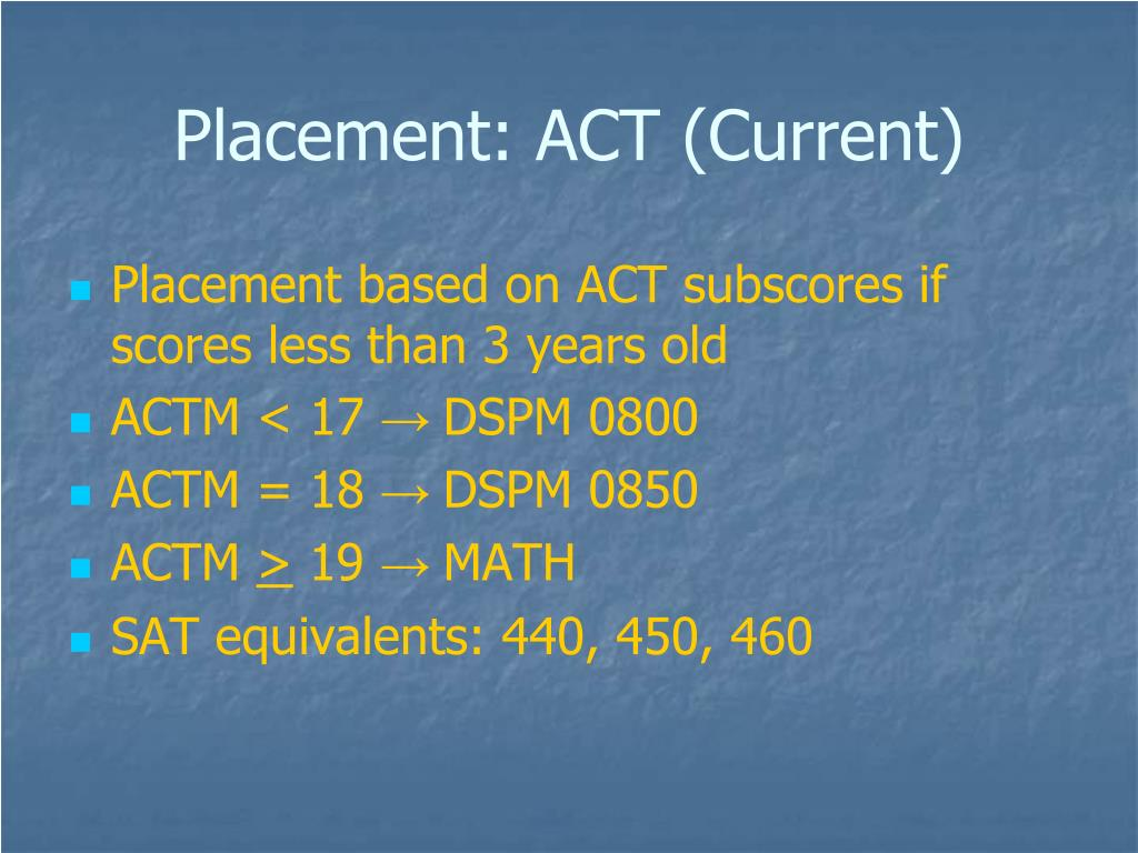 Placement: ACT (Current)