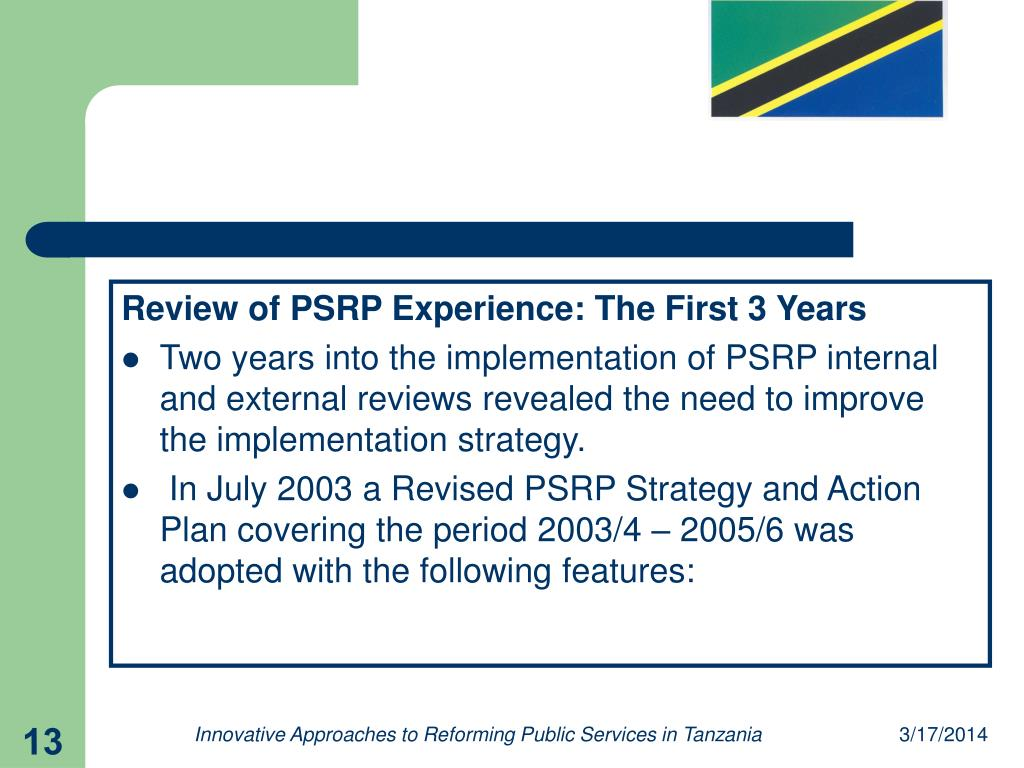 Review of PSRP Experience: The First 3 Years
