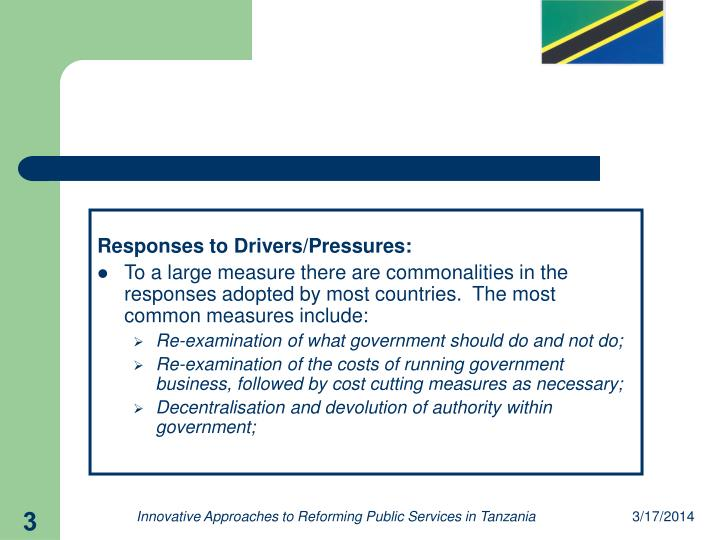 Responses to Drivers/Pressures: