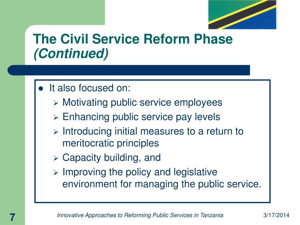 The Civil Service Reform Phase