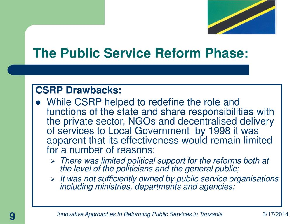 The Public Service Reform Phase: