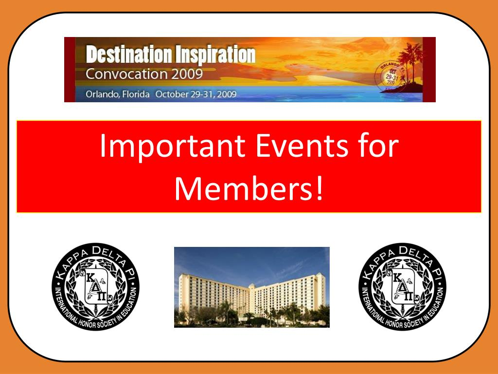 Important Events for Members!