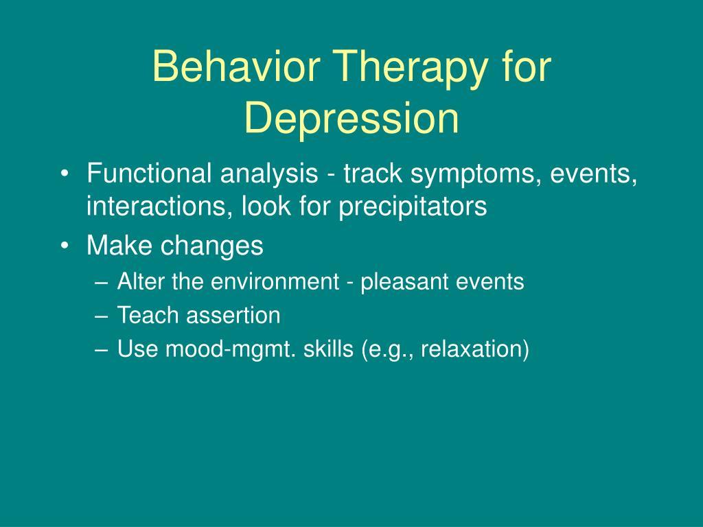 Behavior Therapy for Depression
