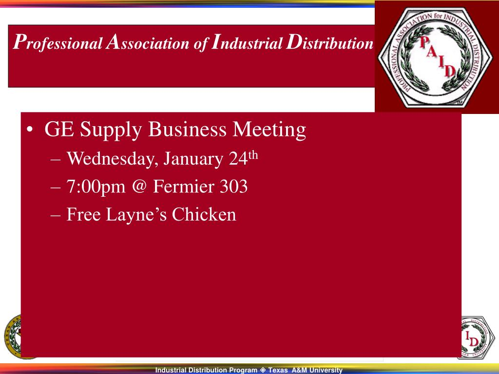 GE Supply Business Meeting