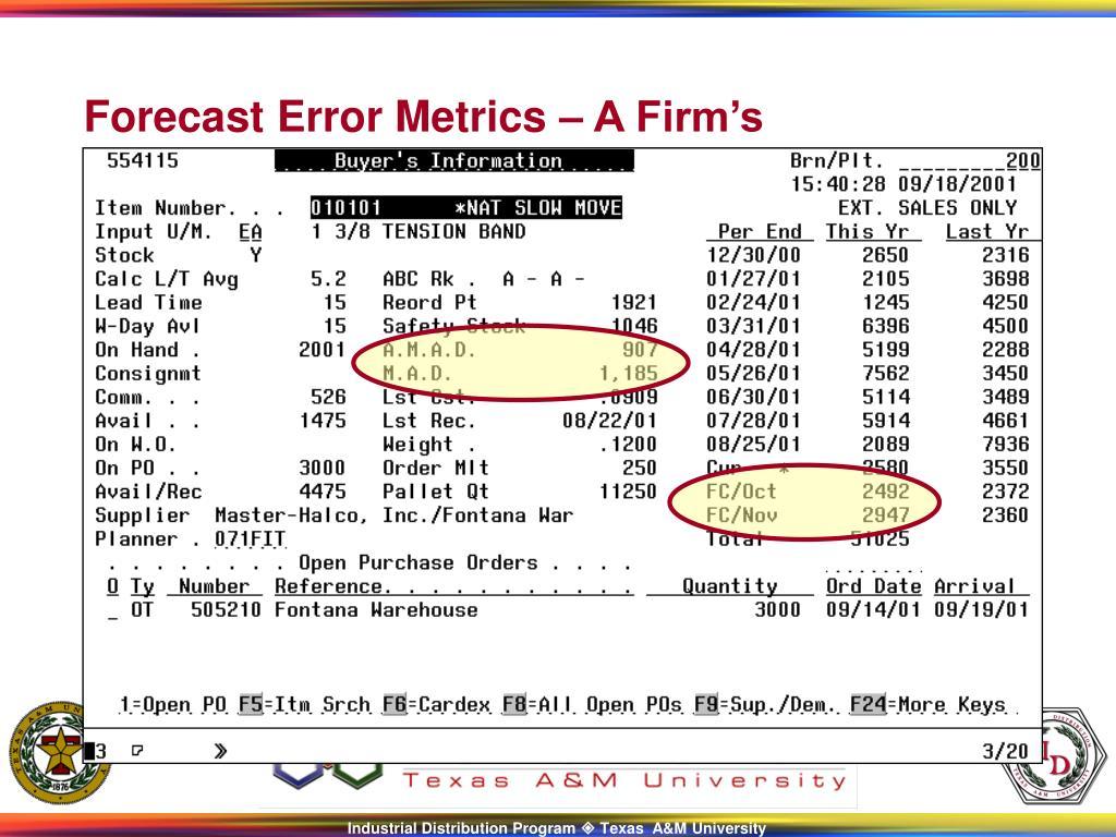 Forecast Error Metrics – A Firm's Implementation
