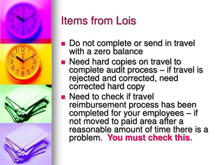Items from Lois