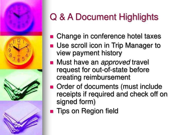 Q & A Document Highlights