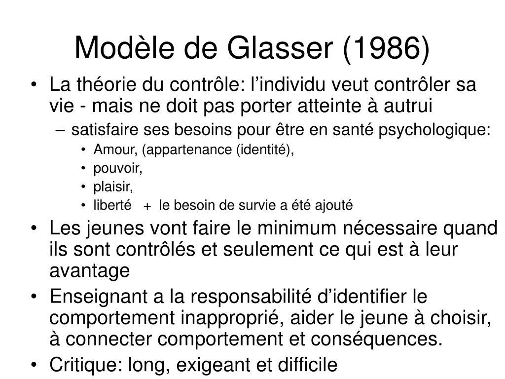 Modèle de Glasser (1986)