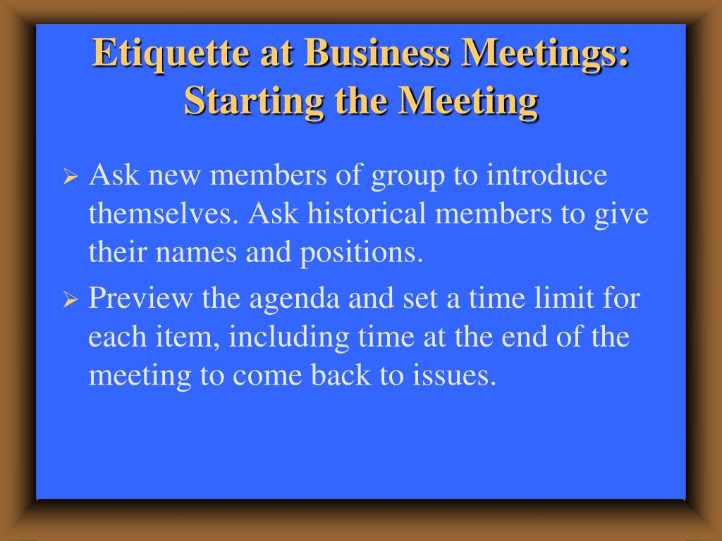 Etiquette at Business Meetings: Starting the Meeting