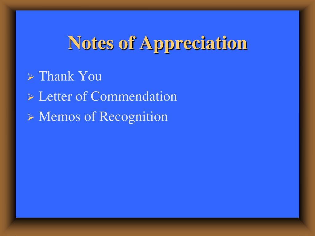 Notes of Appreciation