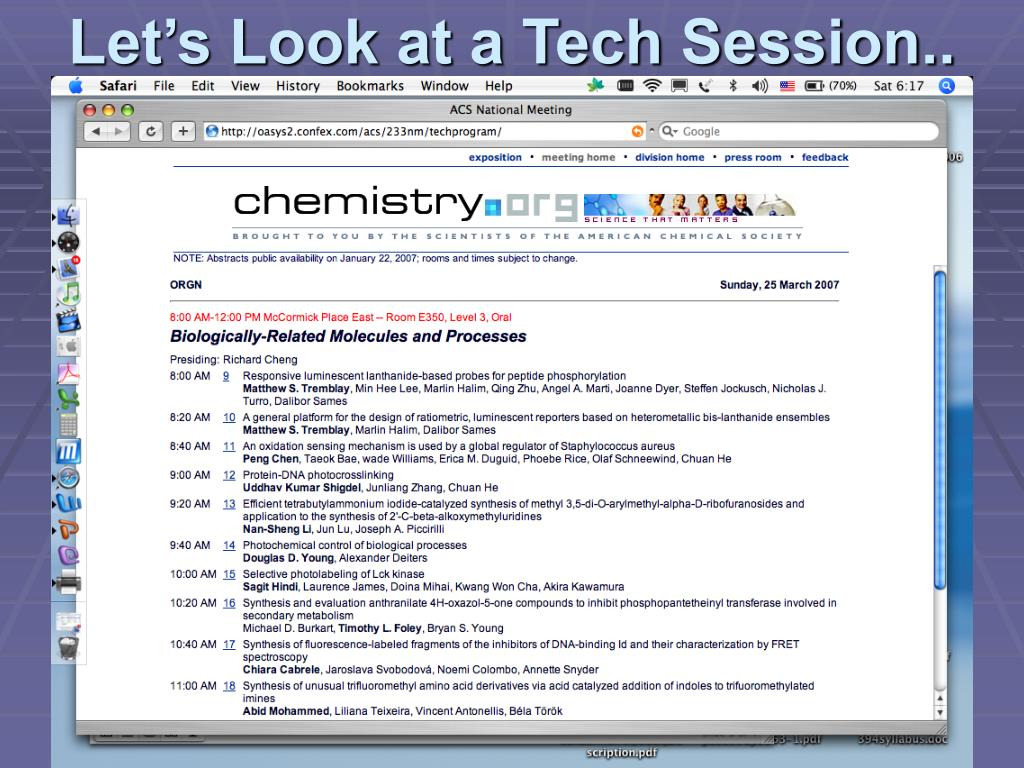 Let's Look at a Tech Session..