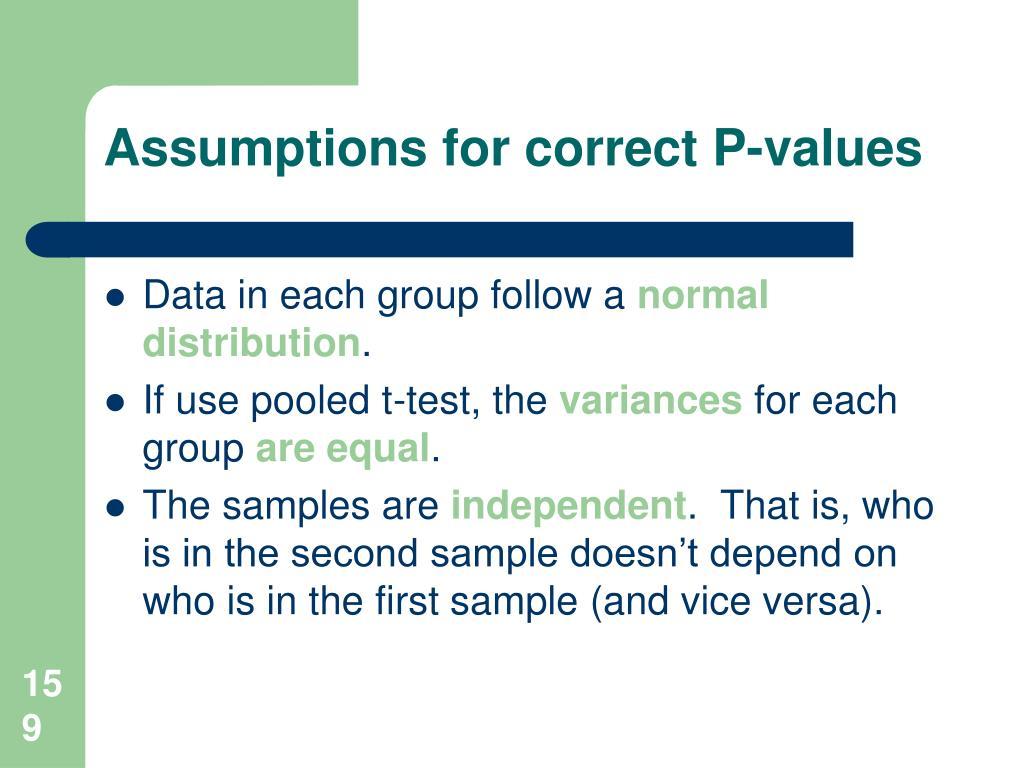 Assumptions for correct P-values
