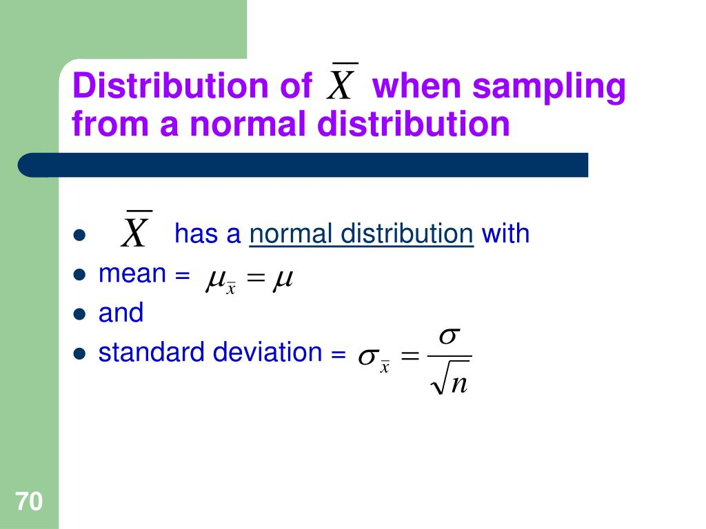 Distribution of      when sampling from a normal distribution