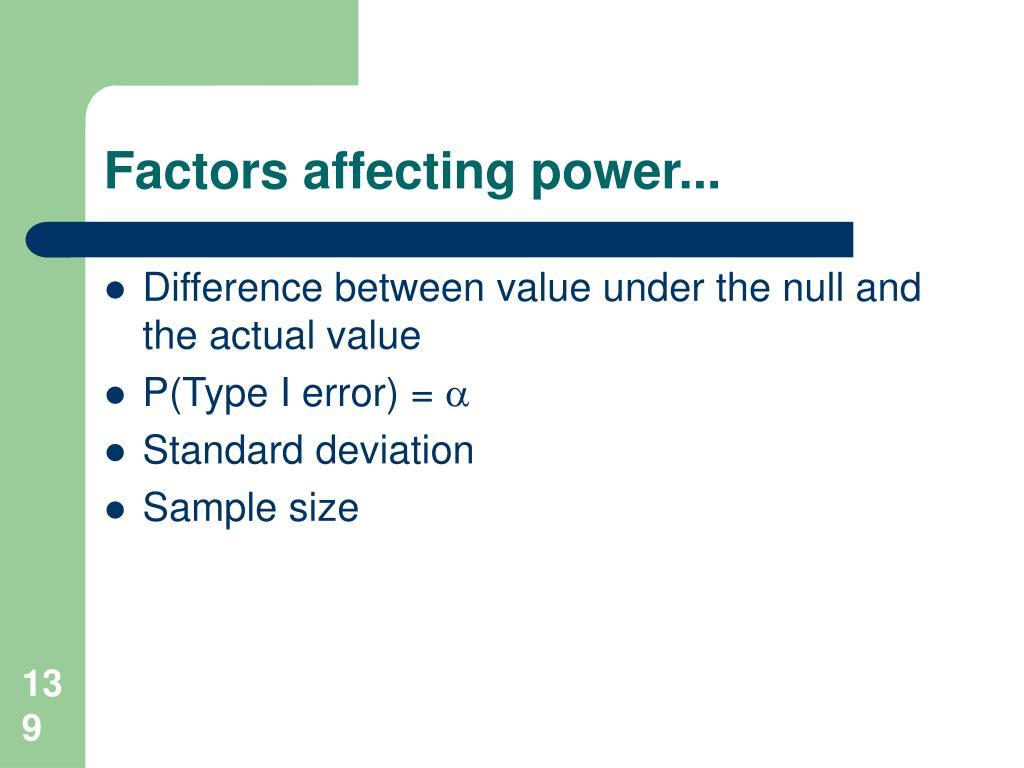Factors affecting power...