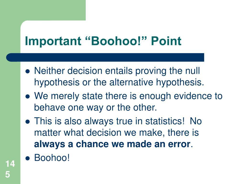 "Important ""Boohoo!"" Point"