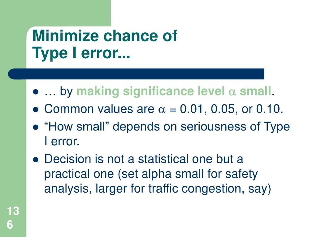 Minimize chance of