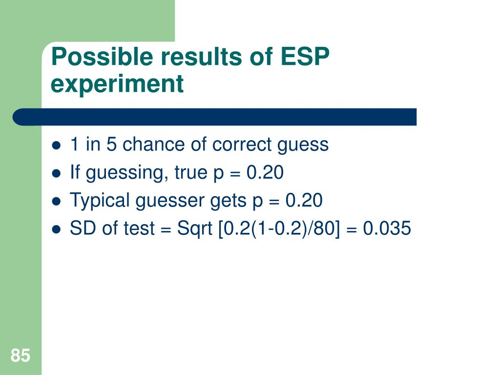 Possible results of ESP experiment