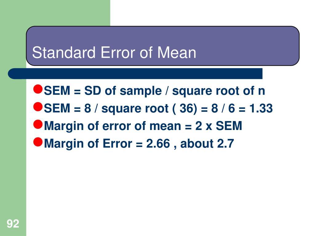 Standard Error of Mean