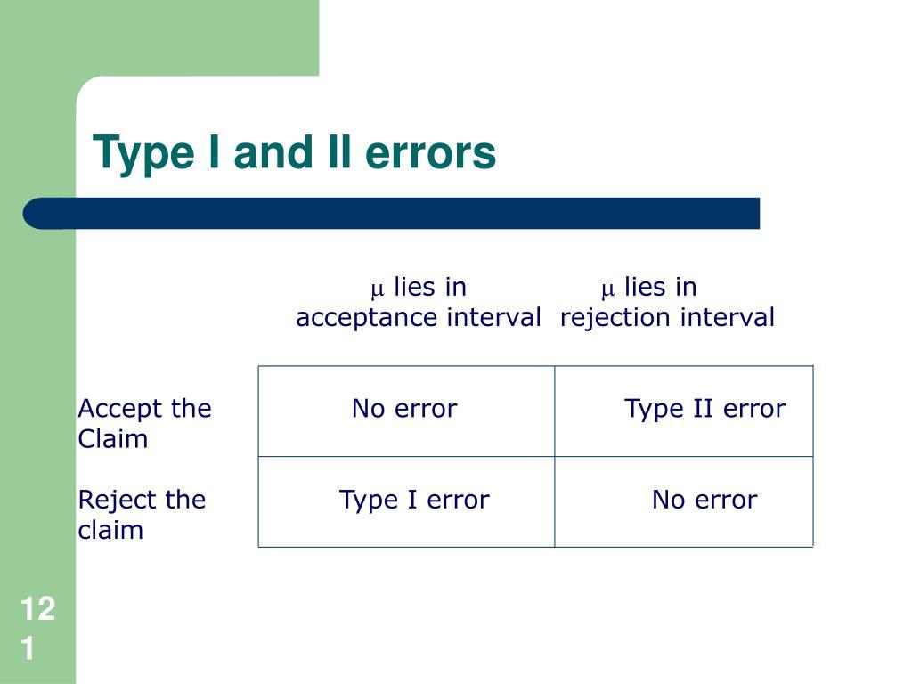 Type I and II errors