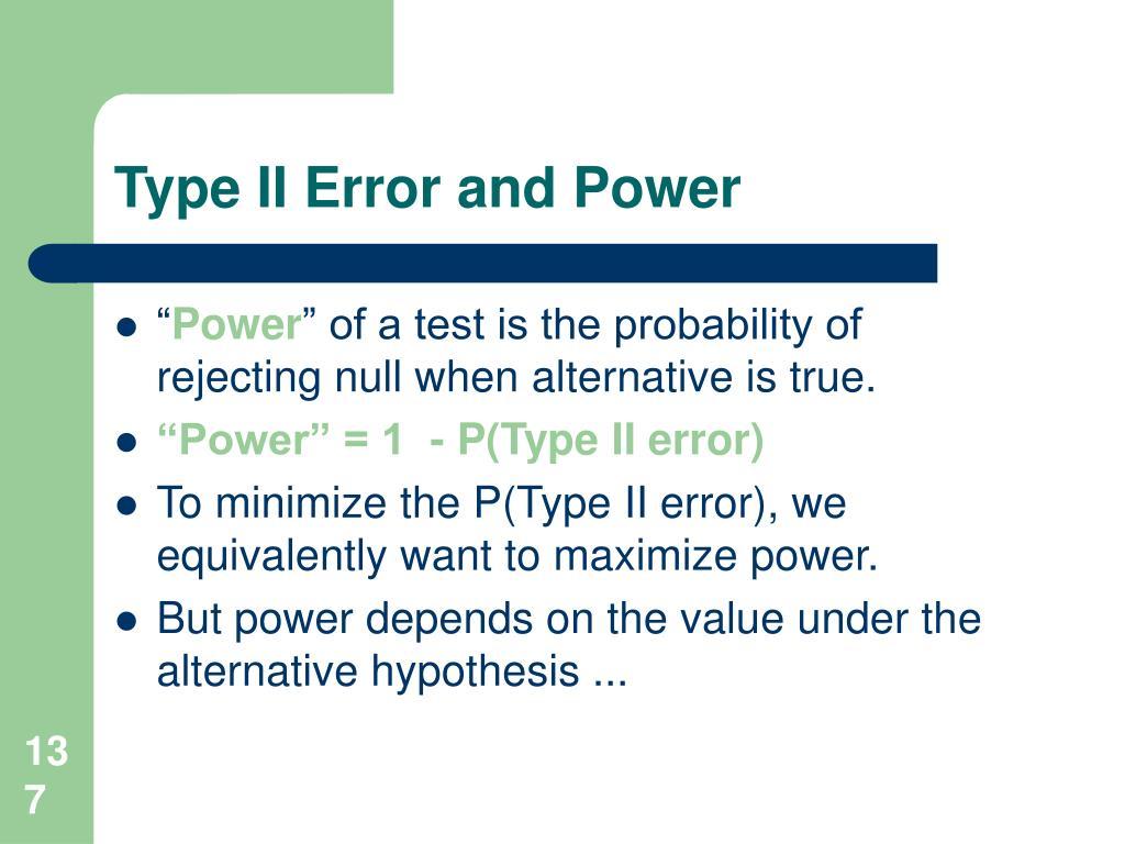 Type II Error and Power