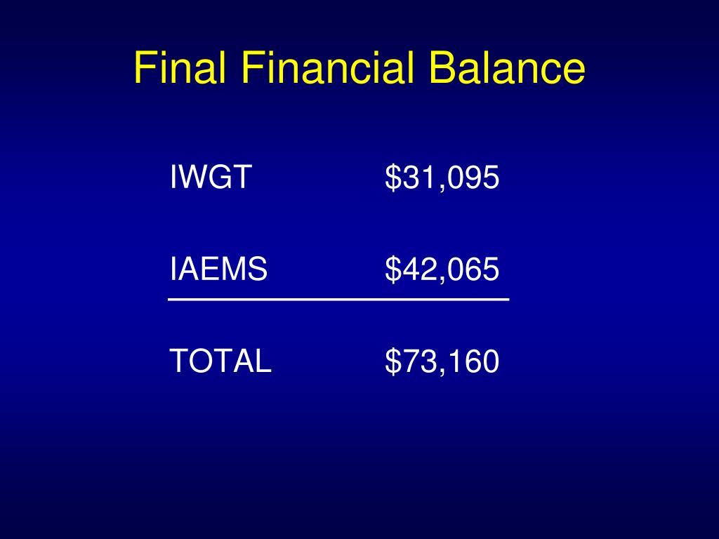 Final Financial Balance