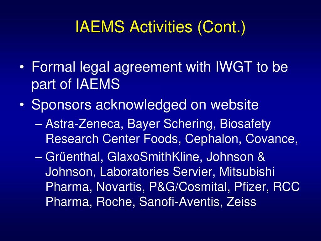 IAEMS Activities (Cont.)