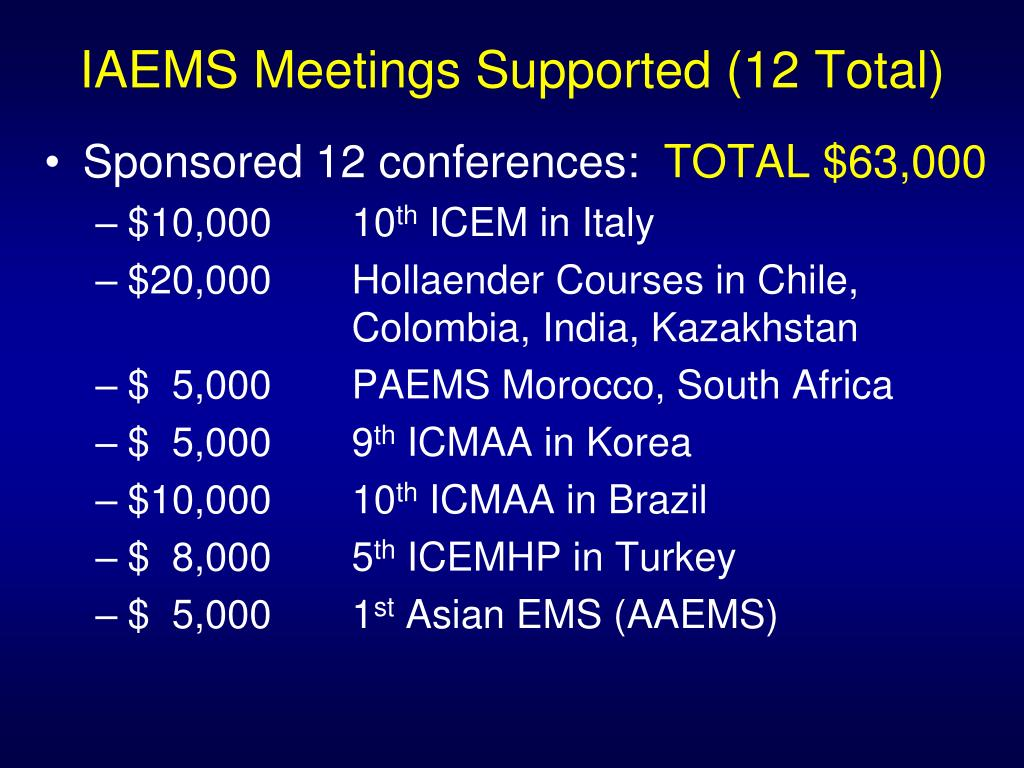 IAEMS Meetings Supported (12 Total)