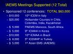 iaems meetings supported 12 total
