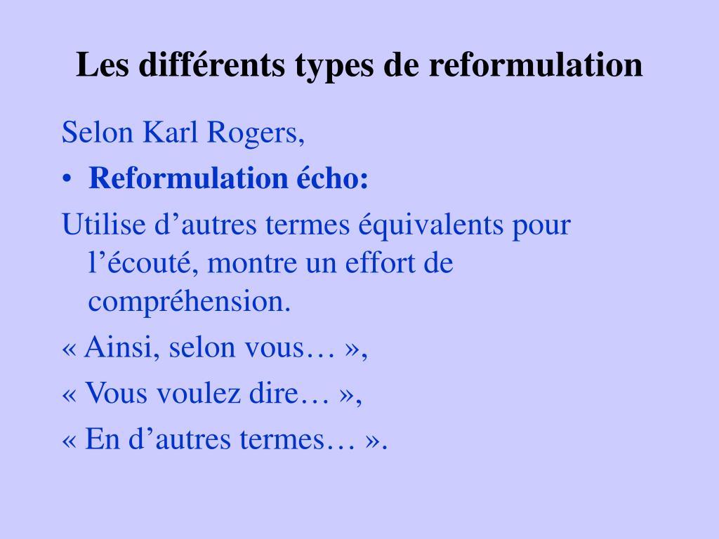 Les différents types de reformulation