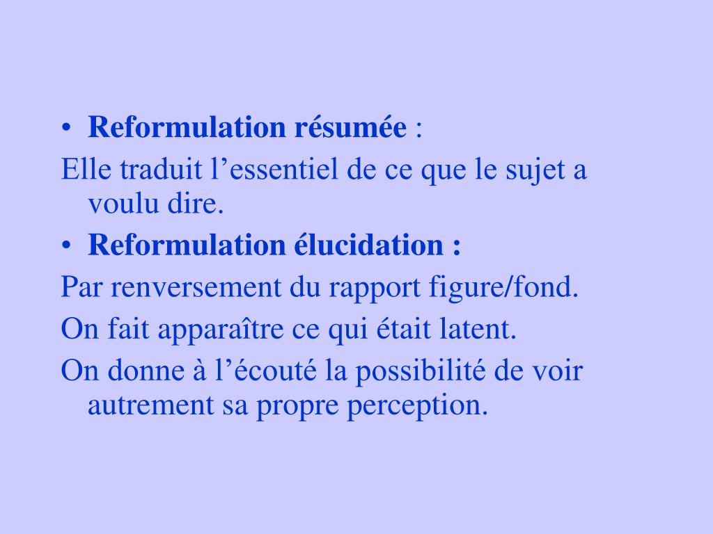 Reformulation résumée
