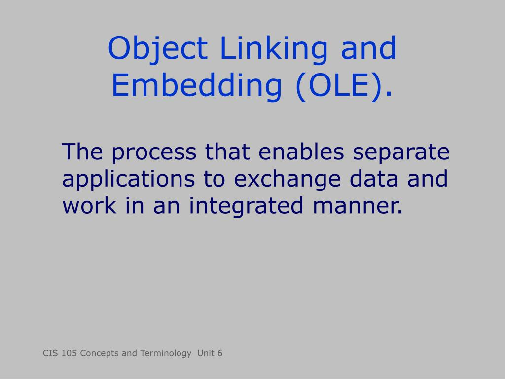 Object Linking and Embedding (OLE).