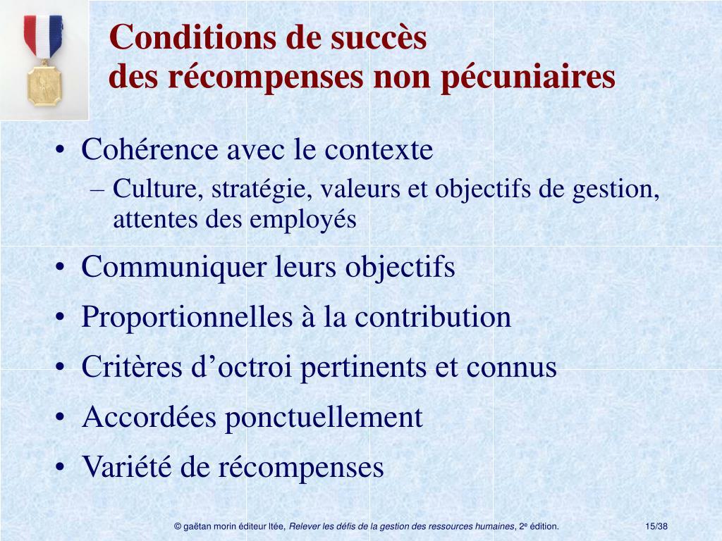 Conditions de succès desrécompenses non pécuniaires