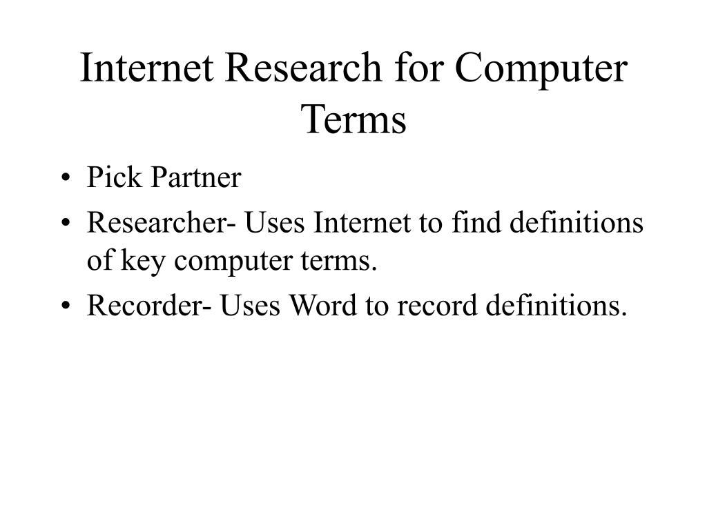 Internet Research for Computer Terms
