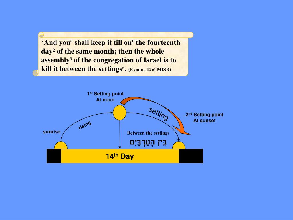'And youª shall keep it till on¹ the fourteenth day² of the same month; then the whole assembly³ of the congregation of Israel is to kill it between the settingsⁿ.