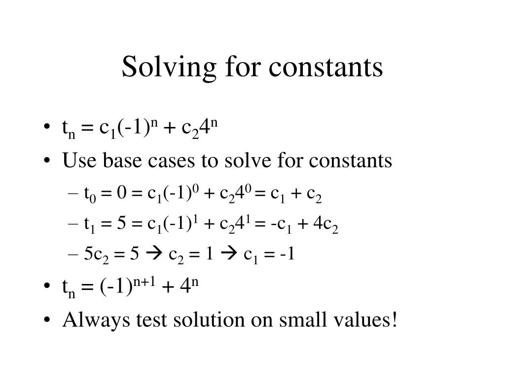 Solving for constants