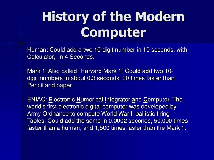 History of the modern computer