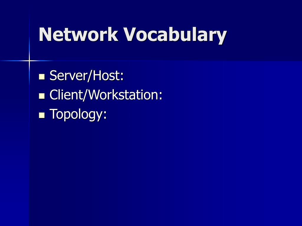 Network Vocabulary