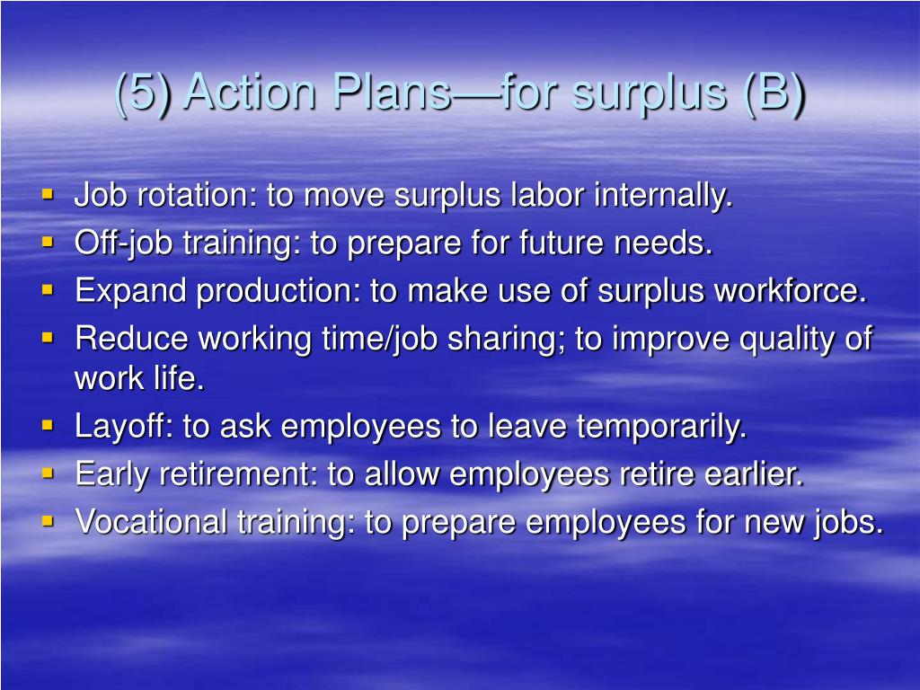 (5) Action Plans—for surplus (B)
