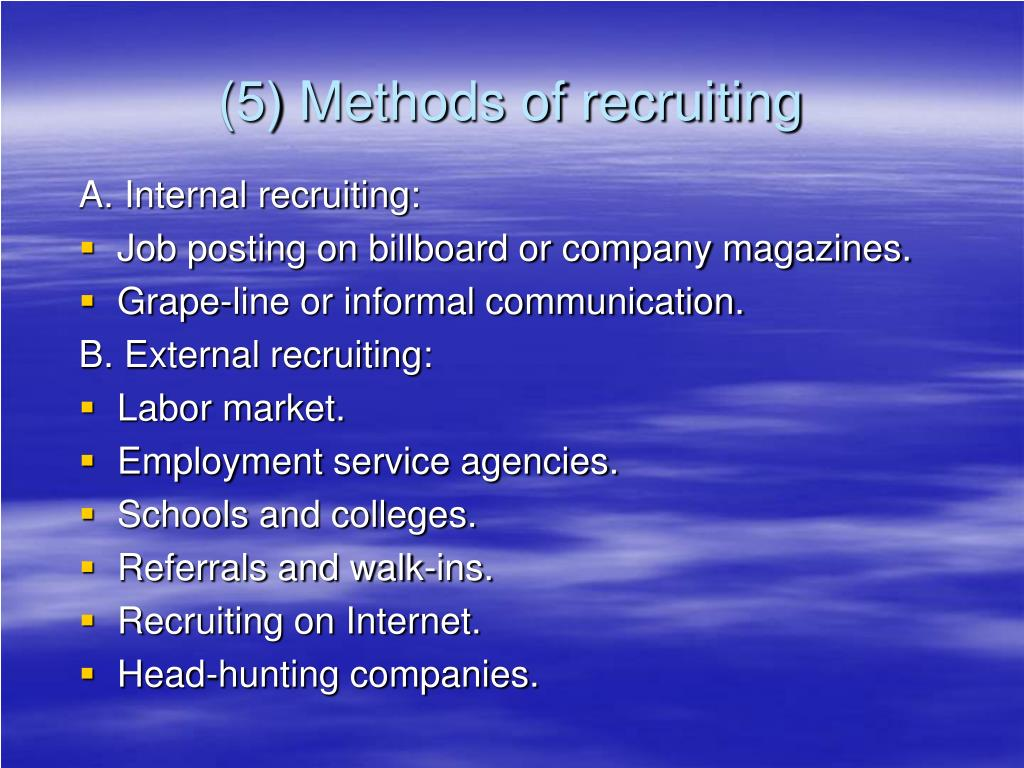 (5) Methods of recruiting