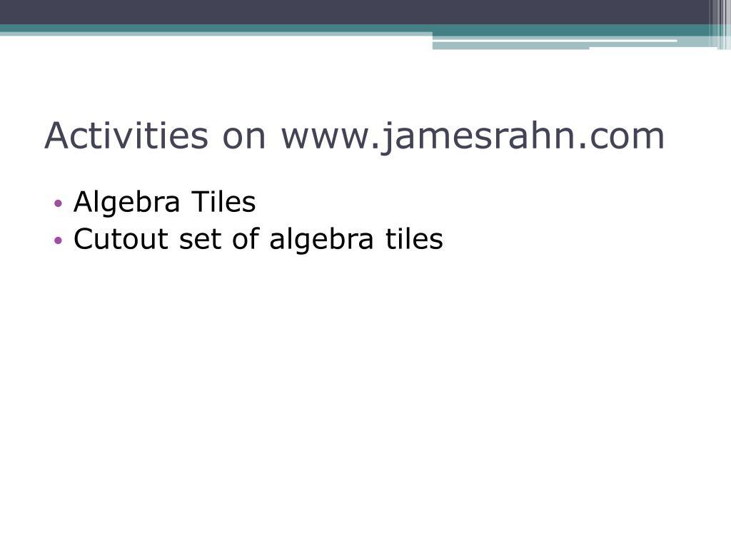 Activities on www.jamesrahn.com