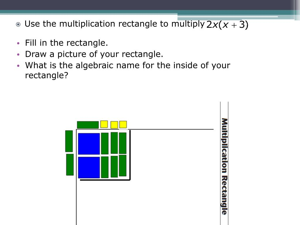 Use the multiplication rectangle to multiply              .